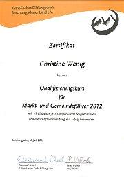Zertifikat Markt- und Gemeindeführer